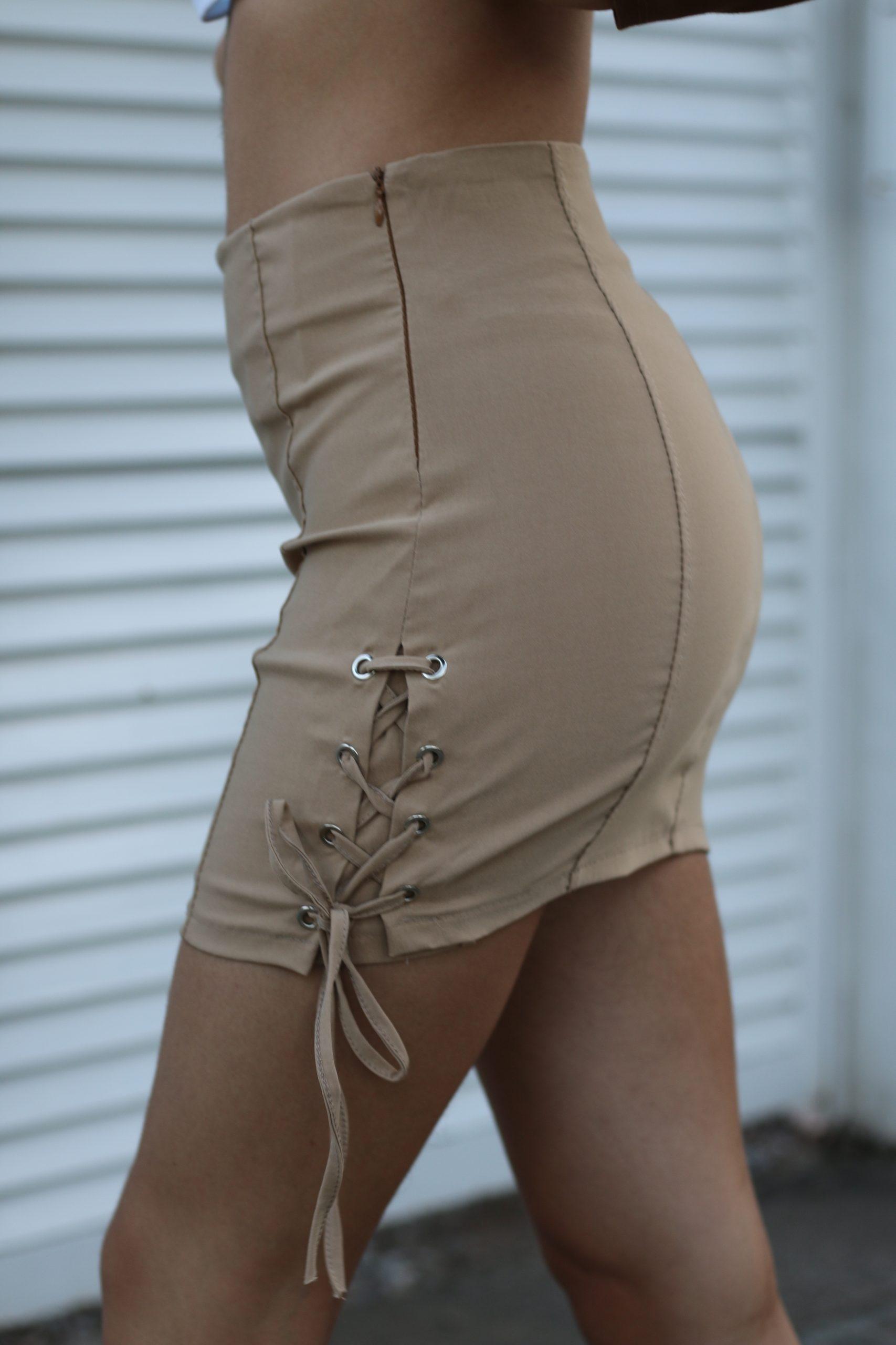 Falda de licra marrón